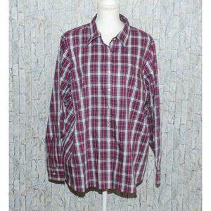 Land's End Woman's Button Up Plaid Blouse 24W